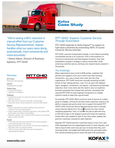 Pitt Ohio - Superior Customer Service Through Automation - Smart